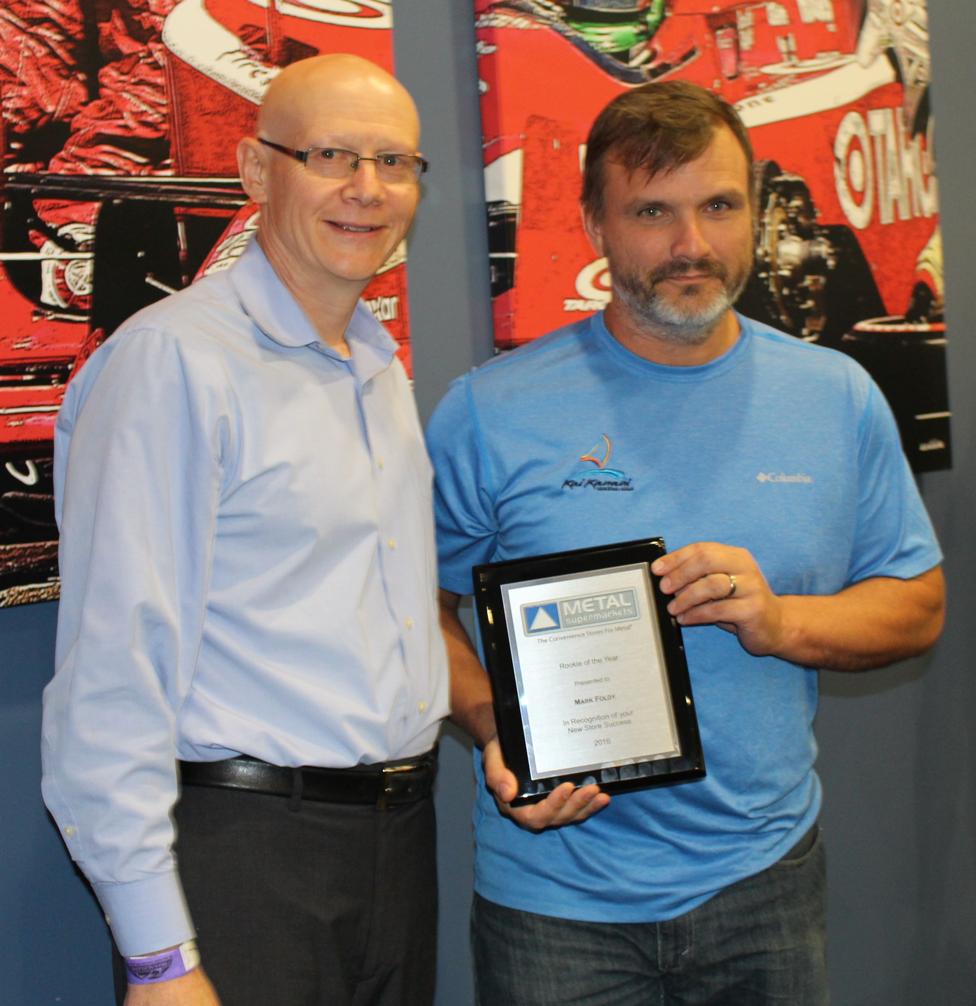 Mark Foldy of Metal Supermarkets Fairfield (right) , with Metal Supermarkets President & CEO Stephen Schober.