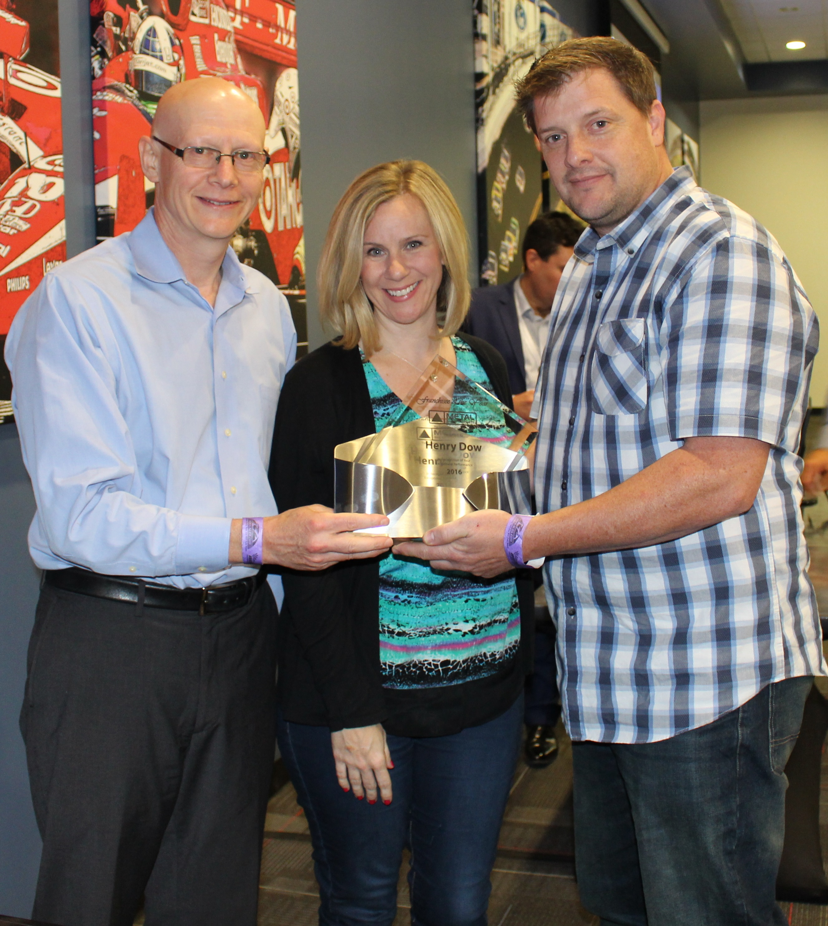 Henry and Michelle Dow of Metal Supermarkets Baltimore & Boston North (right) with Metal Supermarkets President & CEO, Stephen Schober